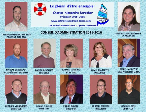 Club Optimiste Vaudreuil-Dorion conseil d'administration 2015-2016