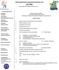 Ordre du jour 2e souper régulier club optimiste Vaudreuil-Dorion