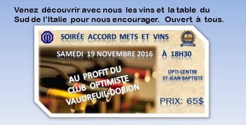 Soirée accords mets et vins, club optimiste Vaudreul-Dorion samedi 19 novembre 2016