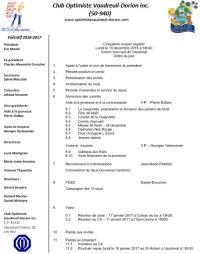 Ordre du jour 5e souper régulier club optimiste Vaudreuil-Dorion, lundi 19 décembre  2016 Centre d'accueil Vaudreuil