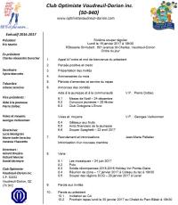 Ordre du jour 6e souper régulier club optimiste Vaudreuil-Dorion, lundi 16 janvier  2017 Rôtisserie St-Hubert Vaudreuil