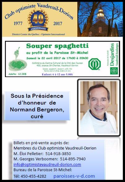 Souper Spaghetti 2017 club optimiste Vaudreuil-Dorion - information