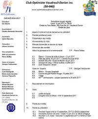 Ordre du jour  15e souper régulier le lundi 12 juin 2017  club optimiste Vaudreuil-Dorion