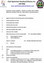 Ordre du jour  2e souper régulier le lundi 23 octobre 2017  club optimiste Vaudreuil-Dorion.