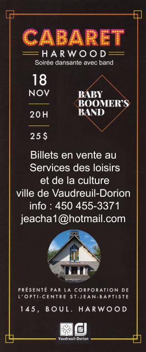 Cabaret Harwood Baby Boomer' Band 18 novembre 2017 corporation Opti-Centre St-Jean Baptiste