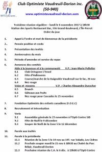 Ordre du jour  3e souper régulier le lundi 6 novembre 2017  club optimiste Vaudreuil-Dorion.