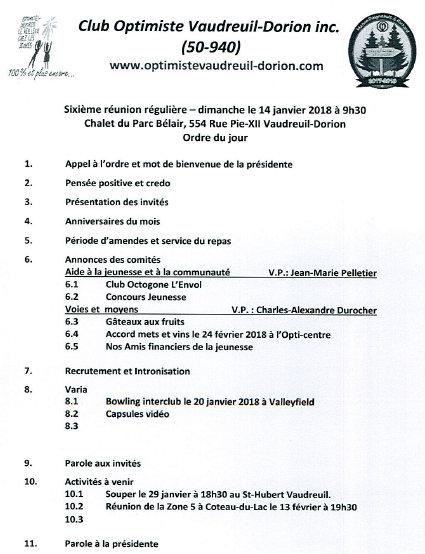 Ordre du jour  6e réunion régulière  dimanche 14 janvier 2018 club optimiste Vaudreuil-Dorion