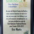 9e réunion (repas)  le 5 mars 2018  club optimiste Vaudreuil-Dorion (35)