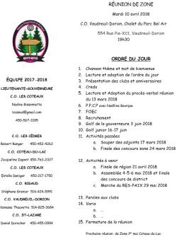 Ordre du jour Réunion des clubs optimistes Zone 5 mardi 10 avril 2018