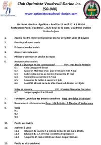 Ordre du jour 11e réunion régulière club optimiste Vaudreuil-Dorion 23 avril 2018