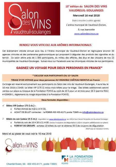 15e édition du Salons des vins Vaudreuil-Soulanges  mercredi 16 mai 2018