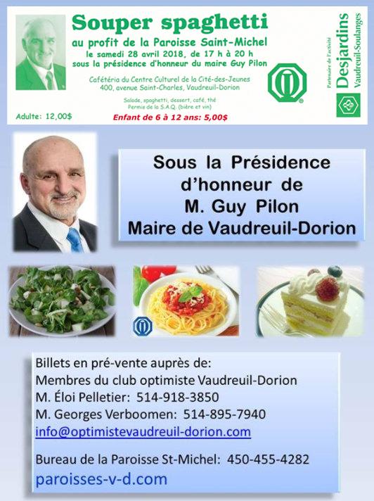 Souper spaghetti au profit de la Paroisse Saint-Michel 28 avril 2018 club optimiste Vaudreuil-Dorion