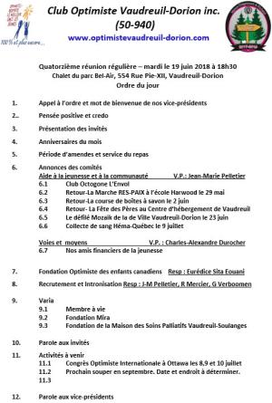 Ordre du jour 14e repas régulier 19 juin 2018  club optimiste Vaudreuil-Dorion