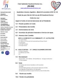 Ordre du jour club optimiste Vaudreuil-Dorion 20 novembre  2018