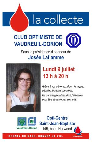Collecte de sang  club optimiste Vaudreuil-Dorion  lundi 9 juillet 2018