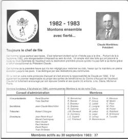 Claude Montbleau président 1982-1983 club optimiste Vaudreuil-Dorion