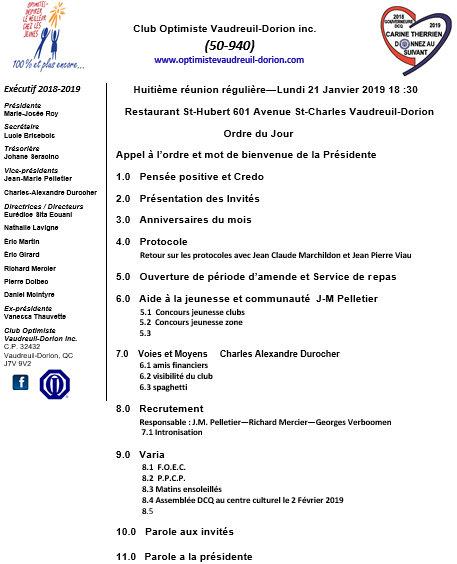 Ordre du jour club optimiste Vaudreuil-Dorion  lundi 21 janvier 2019
