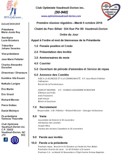 Ordre du jour club optimiste Vaudreuil-Dorion 9 octobre 2018