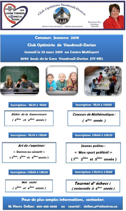 Concours Jeunesse 2019 club optimiste Vaudreuil-Dorion samedi 23 mars 2019