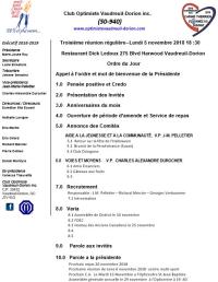 Ordre du jour club optimiste Vaudreuil-Dorion 5 novembre  2018