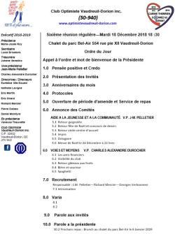 Ordre du jour club optimiste Vaudreuil-Dorion 18 décembre 2018