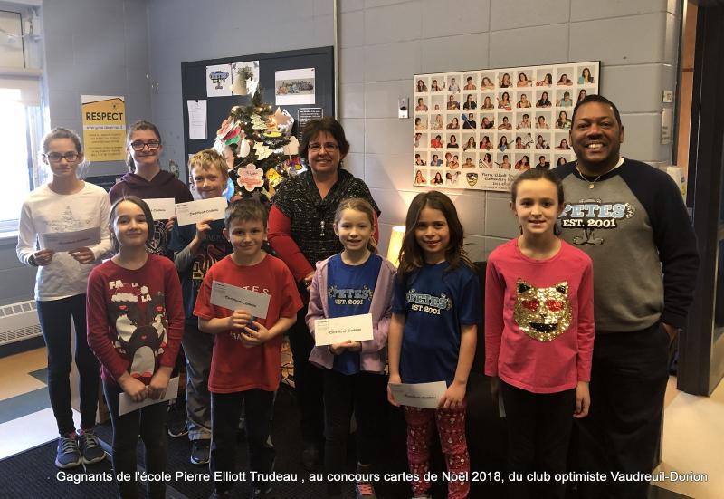 Gagnants de l'école Pierre Elliott Trudeau au concours cartes de Noël 2018  du club optimiste Vaudreuil-Dorion