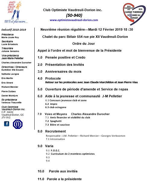 Ordre du jour club optimiste Vaudreuil-Dorion  mardi 12 février 2019