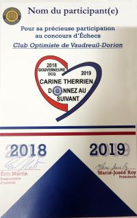 Certificat remis aux participants concours jeunesse 2018-2019 club optimiste Vaudreuil-Dorion