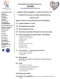 Ordre du jour - 13e réunion - repas club optimiste Vaudreuil-Dorion - lundi 8 avril 2019