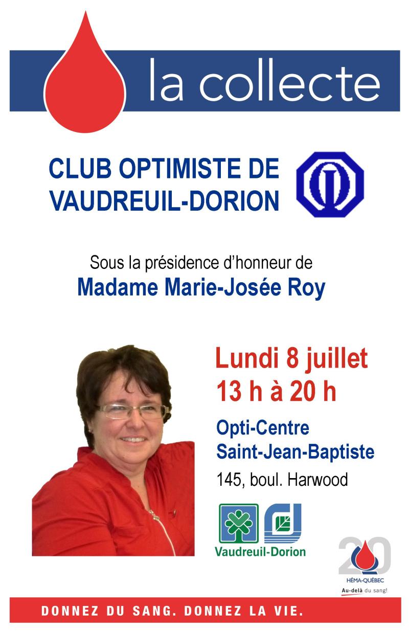 Collecte de sang club optimiste Vaudreuil-Dorion - 8 juillet 2019