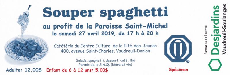 Souper spaghetti club optimiste Vaudreuil-Dorion au profit de la Paroisse St-Michel 27 avril 2019