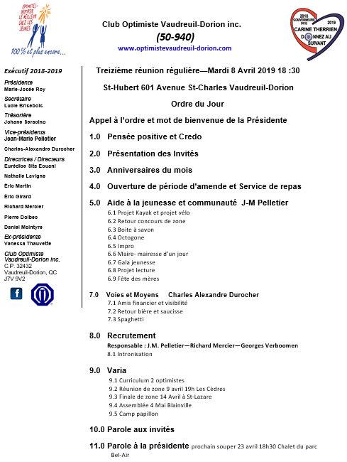 Ordre du jour - 13e réunion - repas club optimiste Vaudreuil-Dorion - mardi 8 avril 2019