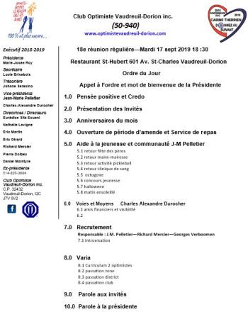 Ordre du jour - 18e réunion - repas club optimiste Vaudreuil-Dorion - mardi 17 septembre 2019