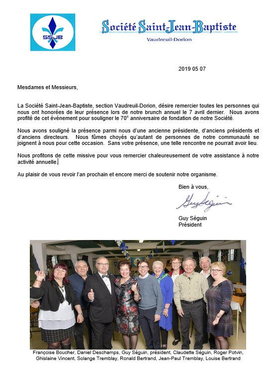 Remerciement BRUNCH de la Société Saint-Jean-Baptiste - Vaudreuil-Dorion -1