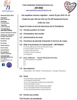Ordre du jour - 17e réunion - repas club optimiste Vaudreuil-Dorion - mardi 18 juin 2019