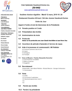 Ordre du jour club optimiste Vaudreuil-Dorion  mardi 12 mars  2019