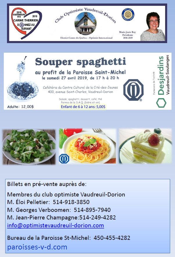 Souper spaghetti club optimiste Vaudreuil-Dorion au profit de la Paroisse St-Michel 27 avril 2019  -1