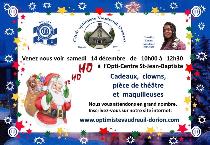 Père Noël 2019 club optimiste Vaudreuil-Dorion