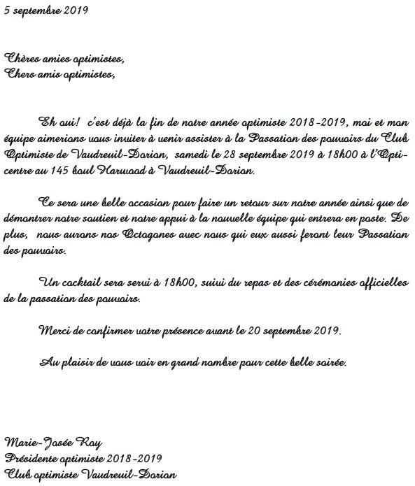 Passation des pouvoirs  club optimiste Vaudreuil-Dorion  5 septembre 2019
