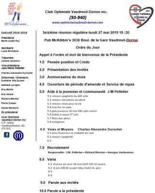 Ordre du jour - 16e réunion - repas club optimiste Vaudreuil-Dorion - lundi 27 mai 2019