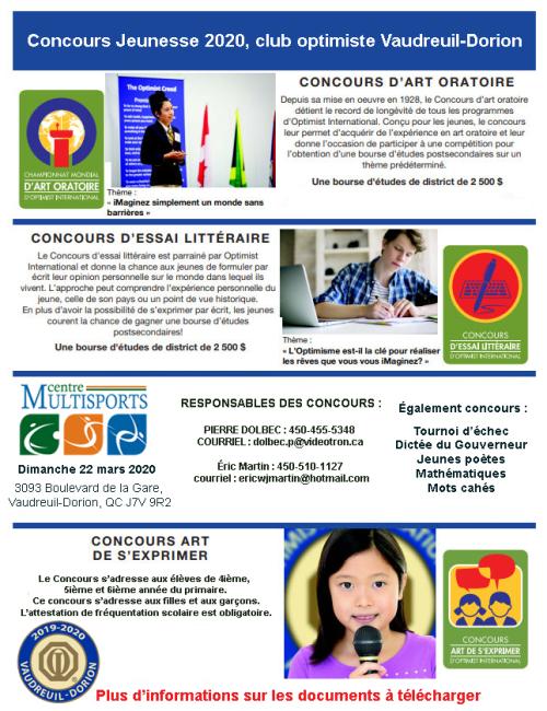 Affiche concours jeunesse 2019-2020 club optimiste Vaudreuil-Dorion