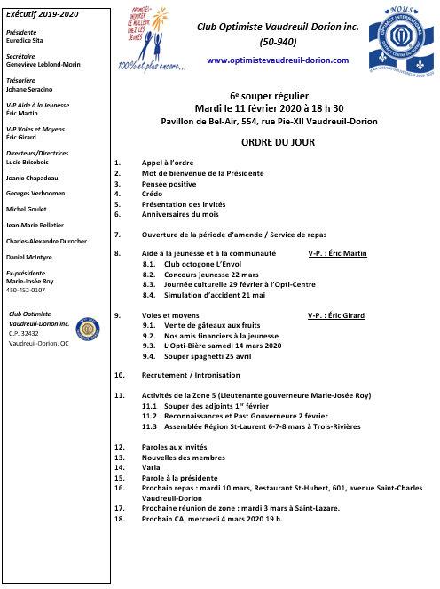 Ordre du jour 6e souper régulier 11 février 2020