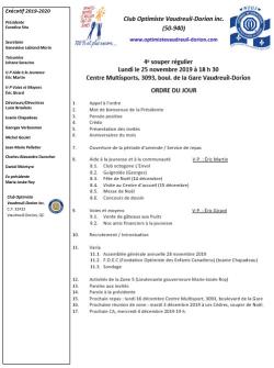 Ordre du jour 4e souper régulier 25 novembre 2019