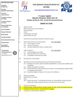 Ordre du jour 5e souper régulier 28 janvier 2020