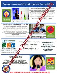 Affiche concours jeunesse 2019-2020 club optimiste Vaudreuil-Dorion Annulation