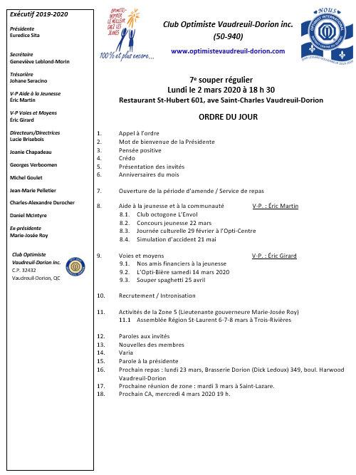 Ordre du jour 7e souper régulier 2 mars 2020
