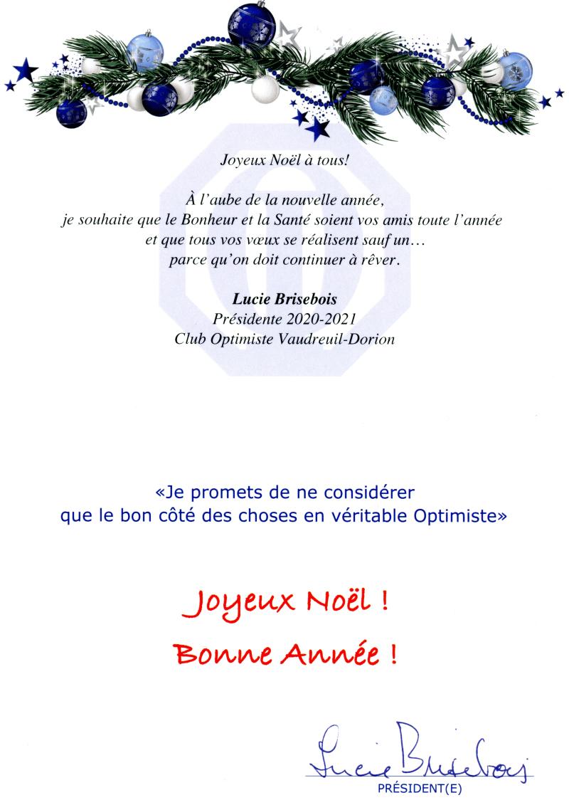 Carte de Noël 2020 club optimiste Vaudreuil-Dorion367