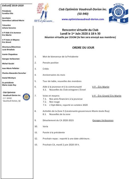 Ordre du jour 1er juin 2020 - club optimiste Vaudreuil-Dorion