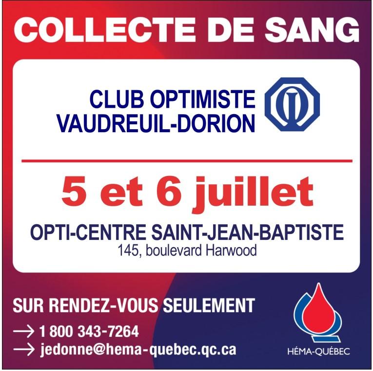 Collecte de sang club optimiste Vaudreuil-Dorion 5 et 6 juillet 2021