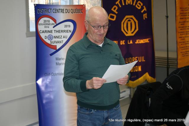 12e réunion du club optimiste Vaudreuil-Dorion mardi 26 mars 2019